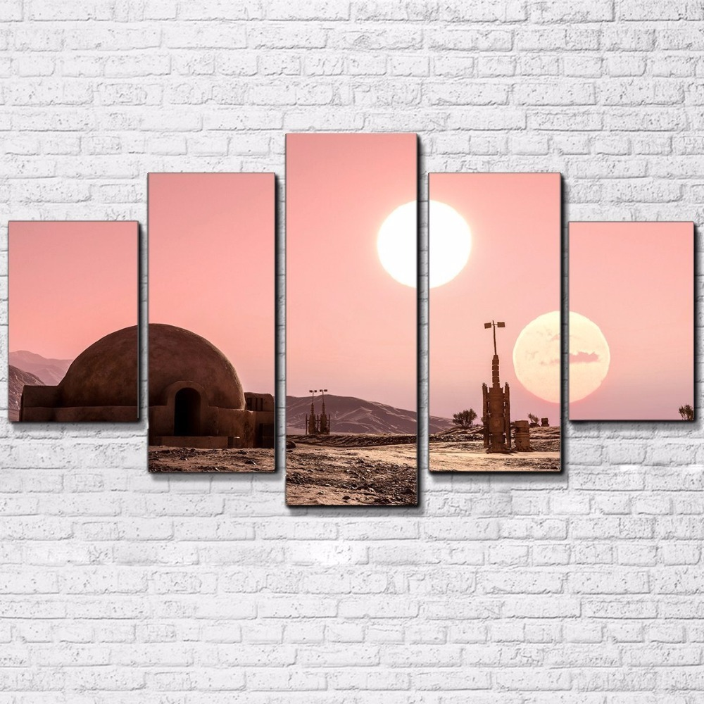 Canvas HD Prints Pictures Wall Art 5 Pieces Star Wars Scenery Paintings Movie Game Posters For Living Room Home Decor Framework
