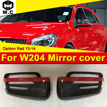 For Mercedes W204 Carbon Fiber C63AMG style Side Mirror cover with Red Line 1:1 Replacement C class door mirror 10-14