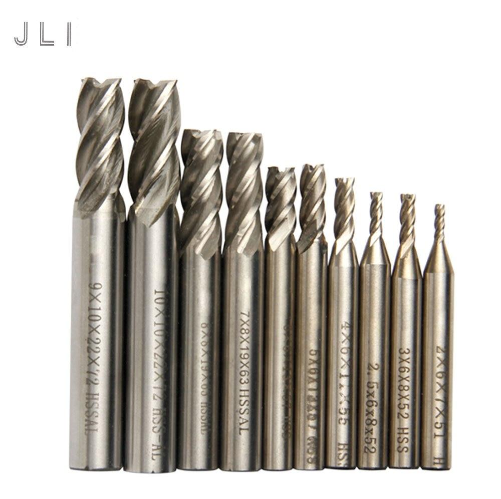 10db / készlet JLI 2-10mm-es fúrómaró maró HSS végmaró - Szerszámgépek és tartozékok - Fénykép 1