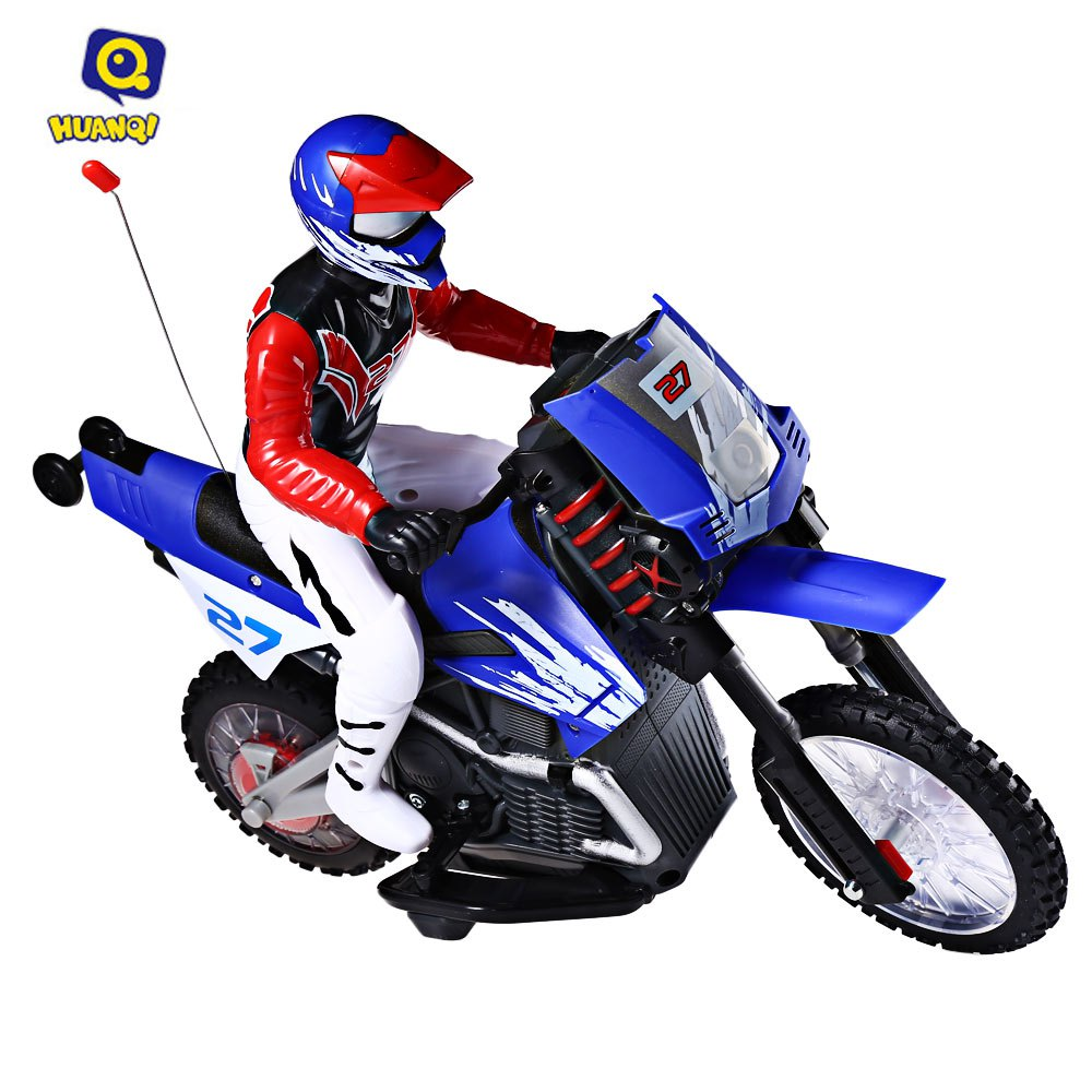 ФОТО Huanqi 528 35MHz RC Motorcycle Toys For Kids New Style Plastic 4 Channel With Light & Music Remote Control Motorbicycle