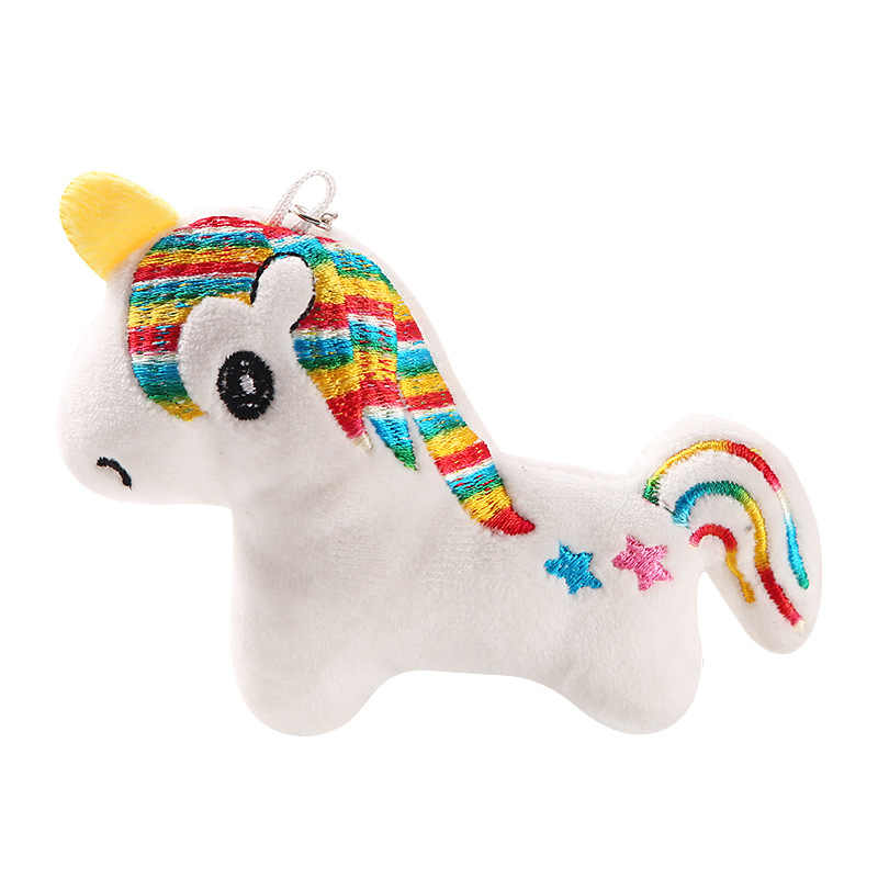 10CM קשת סוס Keychain רך ממולא צעצוע חד קרן סוס ורוד קשת קטיפה תליון Keyring מפתח שרשרת צעצוע ילדה חג המולד מתנה
