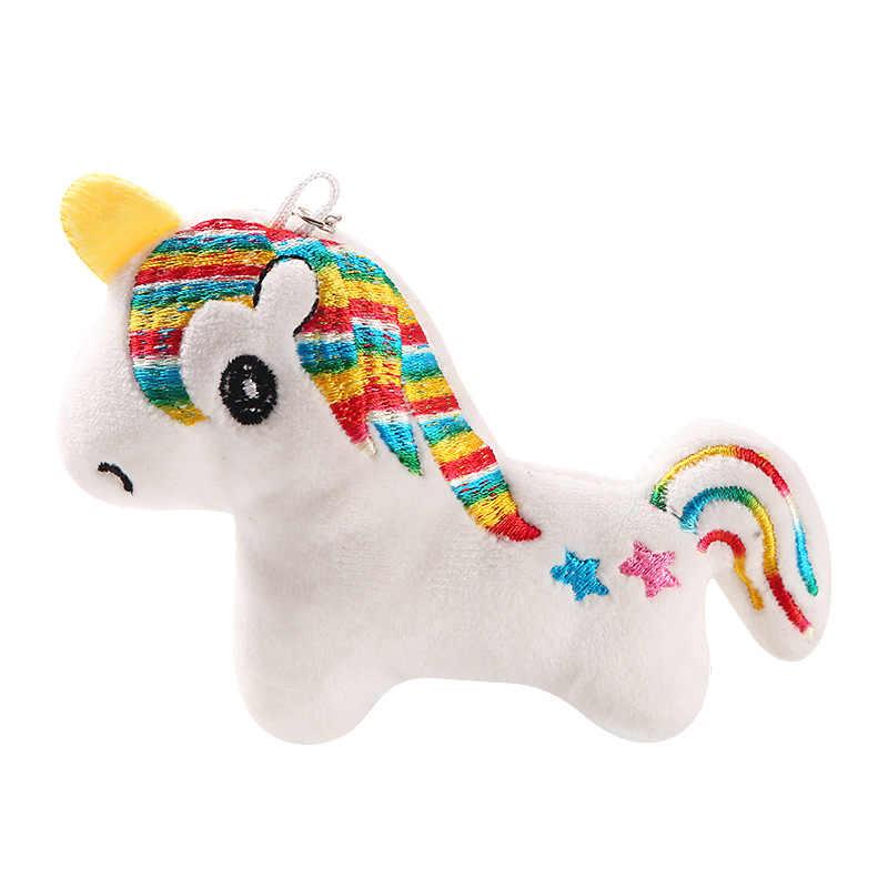 10CM llavero de caballo arcoíris suave juguete de peluche unicornio caballo Rosa arcoíris llavero de felpa llavero de juguete niña regalo de Navidad