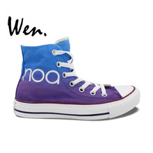 Wen Blue Purple Hand Painted Shoes Design Custom NOA High Top Women Men's Canvas Sneakers Christmas Gifts for Boys Girls