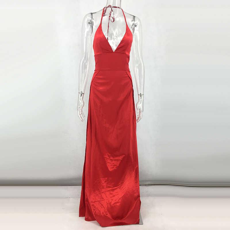 В NewAsia сад Сексуальная платье макси Для женщин длинное платье атлас твердые v-образным вырезом спинки осень вечерние платье элегантный Dresees зеленый красный розовый