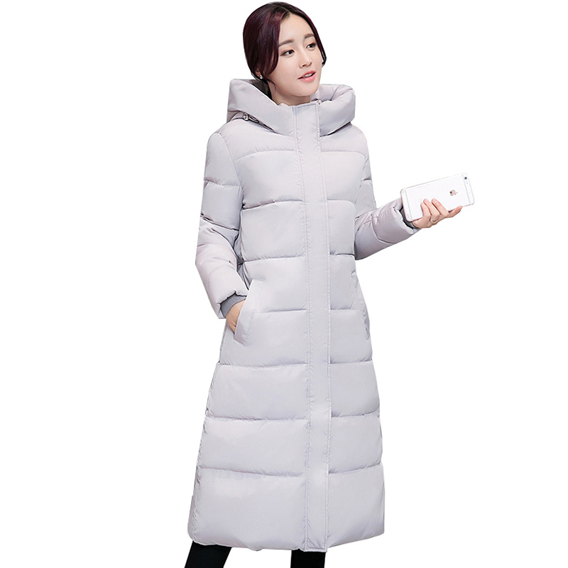2017 Winter Jacket Women Hooded Slim X-Long Paragraph Camouflage Coat Thick Warm Down Padded Female Maxi Cotton Jacket QH0625 thick hooded down jacket women slim print long winter coat camouflage y160