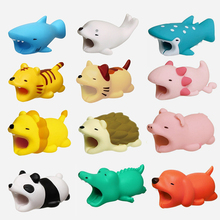 12PCS Cute Animal Prank Toy Funny USB Cable Bite For iphone 7 8 Plus X SE 5 5S Protector Shark Winder Dog Phone Accessory