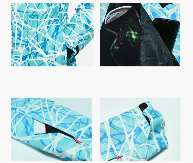 Esportes ao ar livre Terno de Esqui das Mulheres Engrossado Quente Respirável À Prova D' Água resistente ao Desgaste de Secagem rápida Jaqueta de esqui + Calça de Esqui tamanho S XXL - 3