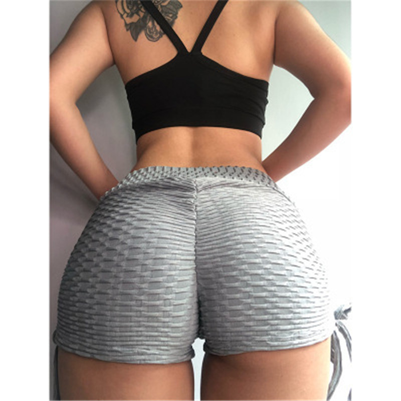 Sexy Black Women Shorts Push Up Fitness Short Legging High Waist Gym Trunks Running Tight Sportswear Striped Underwear