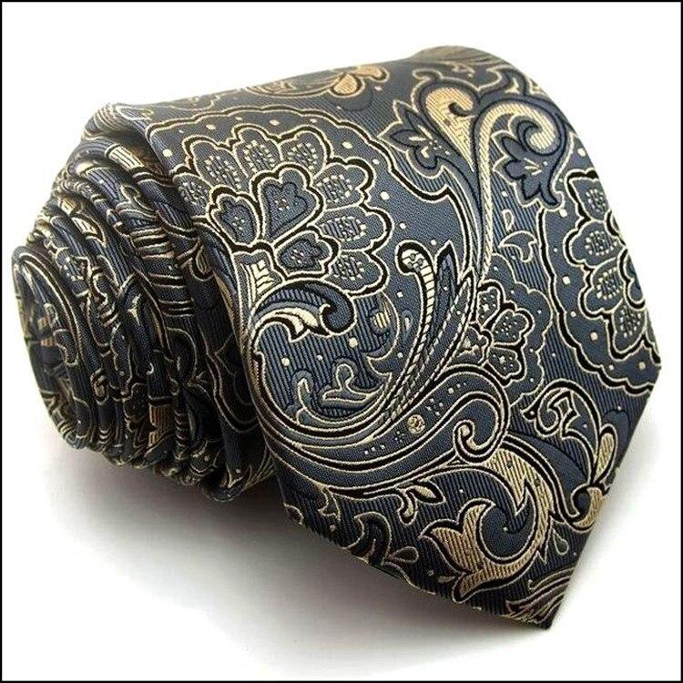 Высокое качество Пейсли серый мужской шелковый галстук Новая мода жаккардовые Тканые Классические Галстуки для мужчин Gravata Corbatas свадебные галстуки