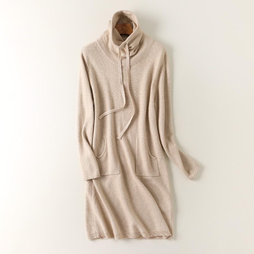 Mode Haut Épais Cachemire Cordon Chèvre 100 S De Col En Tricot Femmes Poches l Chandail m Pull Robe Sv0w5qxw