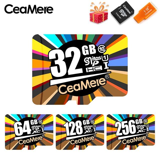 Cartão De Memória de 256 GB 128 GB GB U3 64 CeaMere UHS-3 Class10 UHS-1 32 GB cartão Micro sd cartão de memória flash cartão de memória Microsd TF/Cartões SD para Tablet