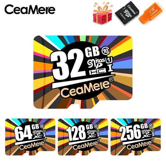 CeaMere Thẻ Nhớ 256 GB 128 GB 64 GB U3 UHS-3 32 GB Class10 UHS-1 Flash Card thẻ nhớ MicroSD/TF/SD Thẻ dành cho Máy Tính Bảng