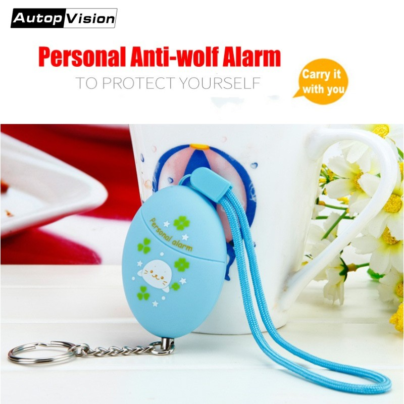Wholesale Portable Lovely Keychain Alarm 120db Self Defense Personal Alarm Keychain Anti-wolf Alarm For Women Girls Kids Student