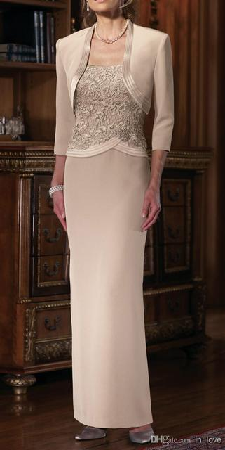 2d5ca7d0b86 2017 Mother Of The Bride Dresses Sheath Floor Length Champagne Lace Long  Mother Dresses With Jacket