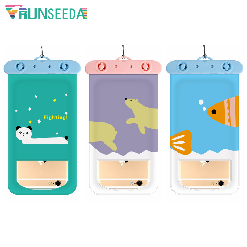 Runseeda 6 Inch Cartoon Swimming Bag Cute Waterproof Mobile Phone Carry Case New Sealed Pouch For Iphone Huawei Xiaomi Cellphone