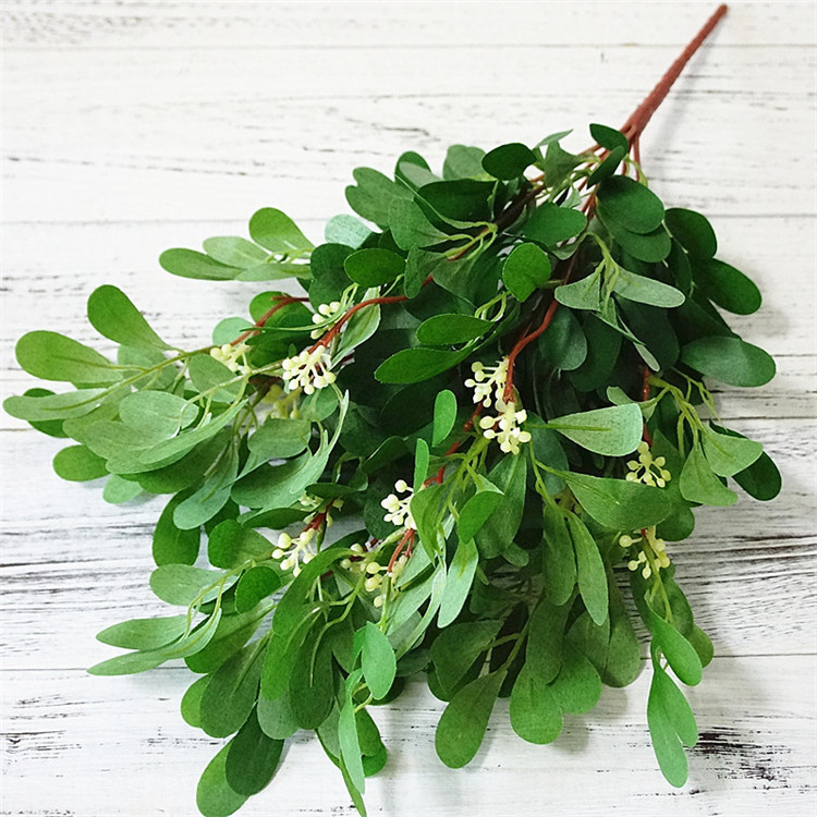 Artificial 9 Branch Green Jujube Leaves Plastic Fake Plant