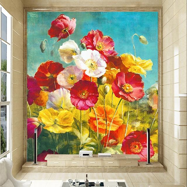 Custom 3d photo wallpaper for living room corridor background poppy custom 3d photo wallpaper for living room corridor background poppy flower oil painting 3d mural wallpaper mightylinksfo