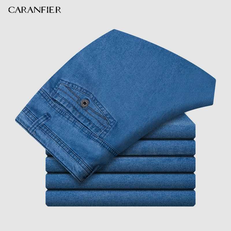 CARANFIER ผู้ชายกางเกงยีนส์กางเกงขาสั้น 2019 ฤดูร้อนใหม่คลาสสิก Casual Elasticity ฝ้ายตรงกางเกงยีนส์สั้นตรงชาย 39 40