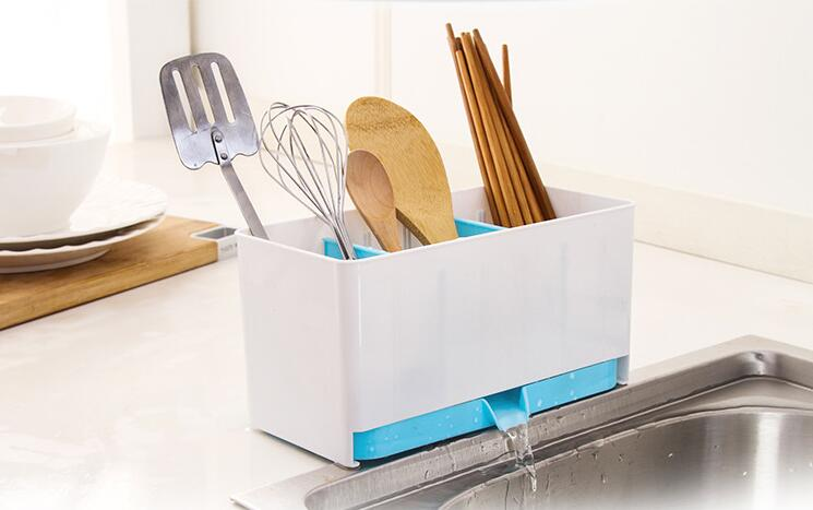 1PC Cutlery Drainer Storage Racks Holders Organizer Kitchen Housekeeper Chopsticks Forks Spoons Console Stand Decoration OK 0897