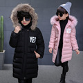 2016 Winter kid girls letters YES printing Hooded Hands cotton-padded coat children warm long type clothing jacket