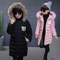 2016 de Inverno da criança meninas letters SIM Mãos de impressão Com Capuz jaqueta de roupas de algodão-acolchoado casaco crianças quente longo tipo