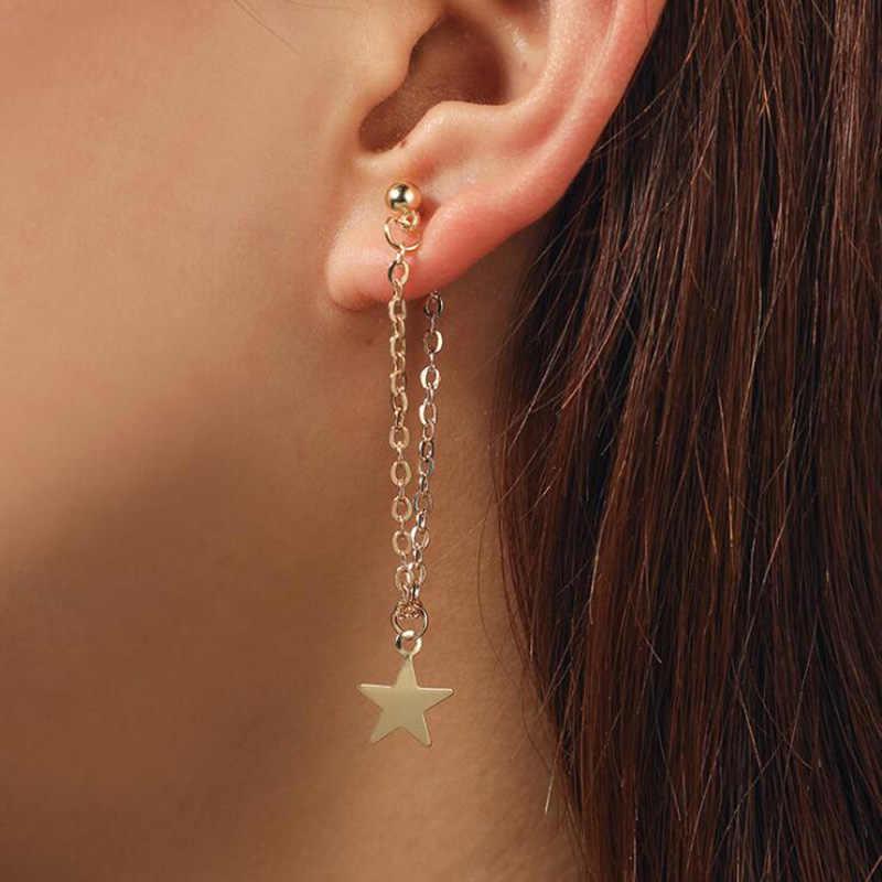 แฟชั่นสไตล์ยุโรปผู้หญิง Simple FIVE-pointed Star ต่างหูแฟชั่นเครื่องประดับต่างหูอุปกรณ์จัดงานแต่งงาน