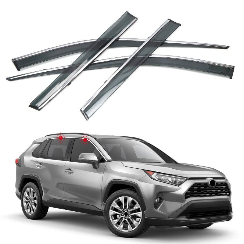 Pour Toyota RAV4 2019 2020 fenêtre visière pluie pare-soleil garde déflecteur garniture 4 pièces voiture style accessoires