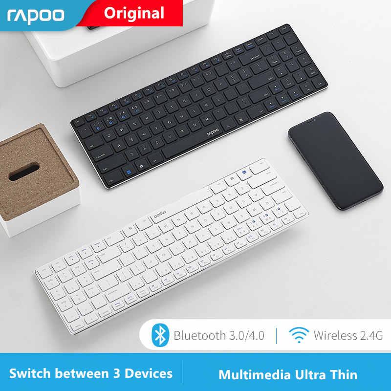 חדש Rapoo E9300 Bluetooth/2.4G מולטימדיה 5.6mm Ultra-Slim אלחוטי מקלדת עבור מחשבים ניידים מחשבים שולחניים מחשב עם 3 התקנים להתחבר