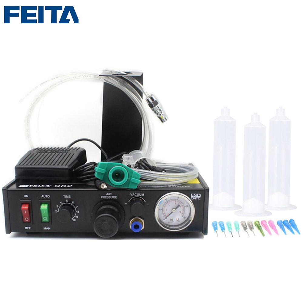 FEITA 982 Semi-auto LCD Glue Filling Machine Fluid Dripping Dispenser Desktop Semi-automatic Epoxy Resin Glue Dispensing Machine