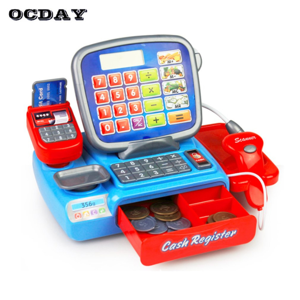 OCDAY Simulation Cash Register Electronic Toy With Coins Supermarket Cashier Cal