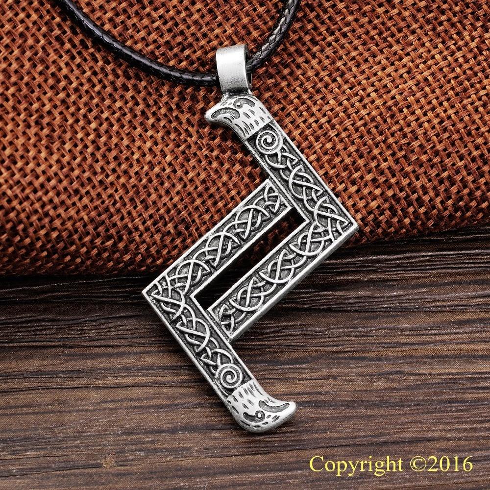 LANGHONG 1pcs Elder Futhark Rune Colgante Collar JERA Rune Yggdrasil - Bisutería
