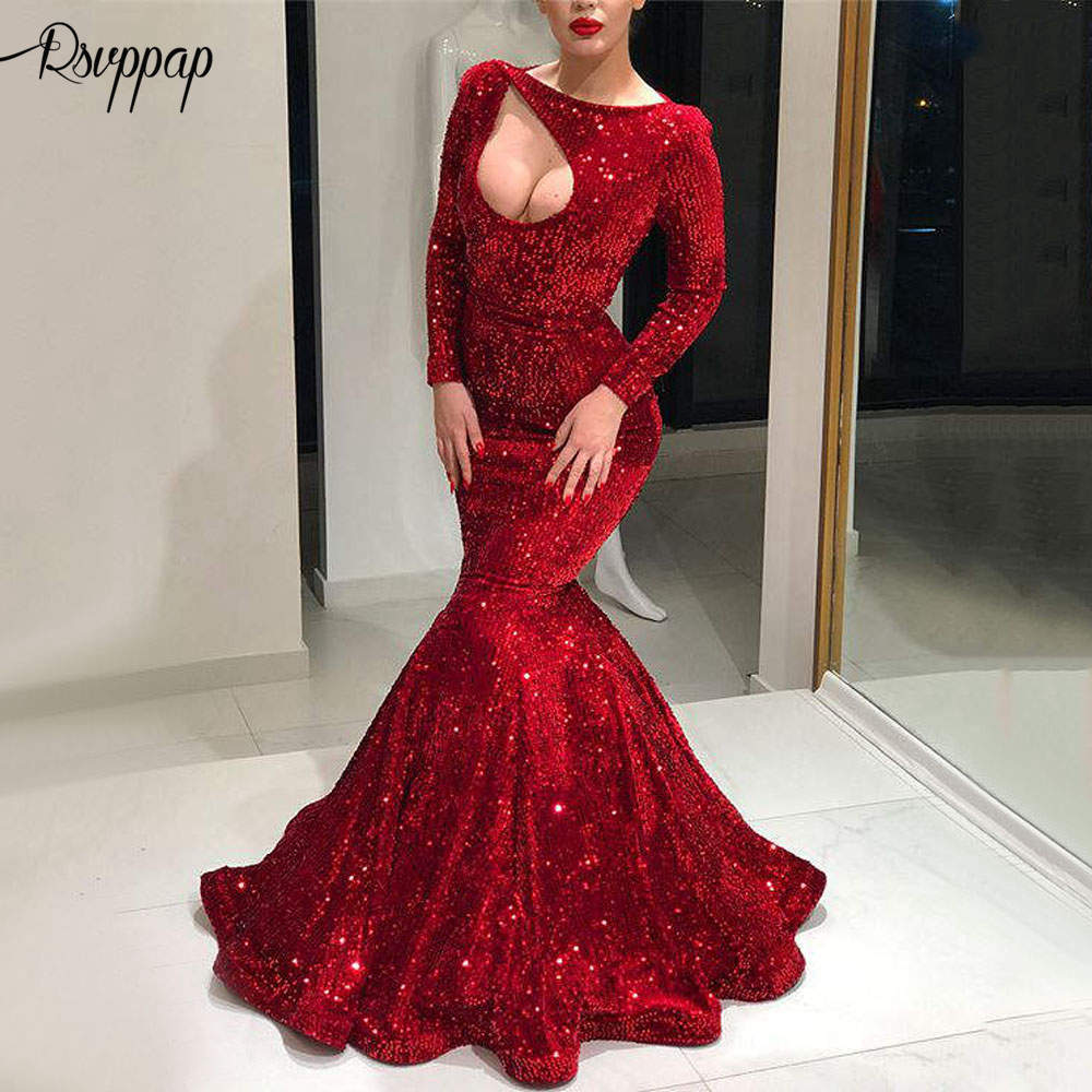 Long   Evening     Dress   2019 New Arrival Sexy Mermaid Long Sleeve Cut Out Elegant Women Red Formal   Evening   Party Gowns robe de soiree