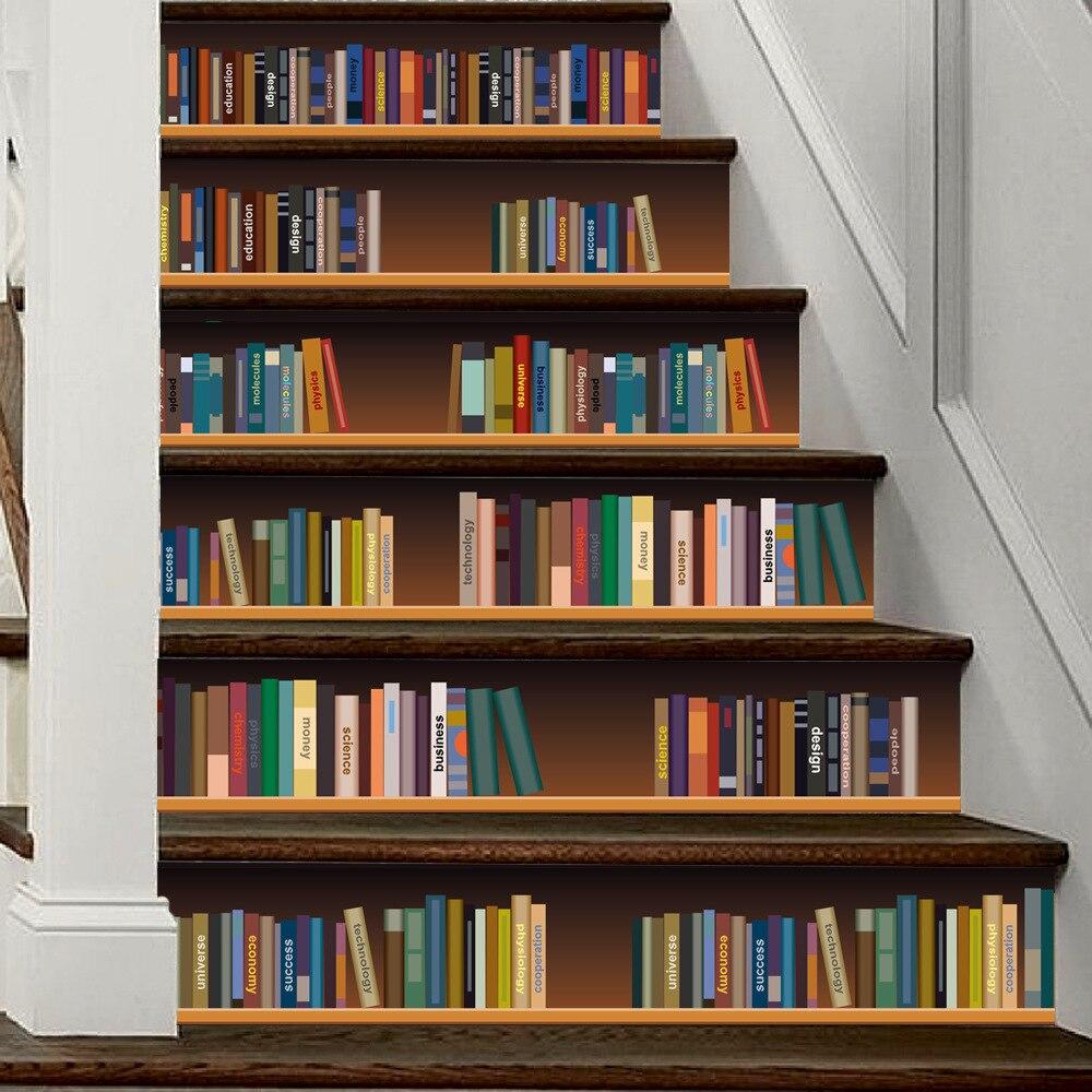Funlife 3D Living Room Bookshelf Stairs Decorative