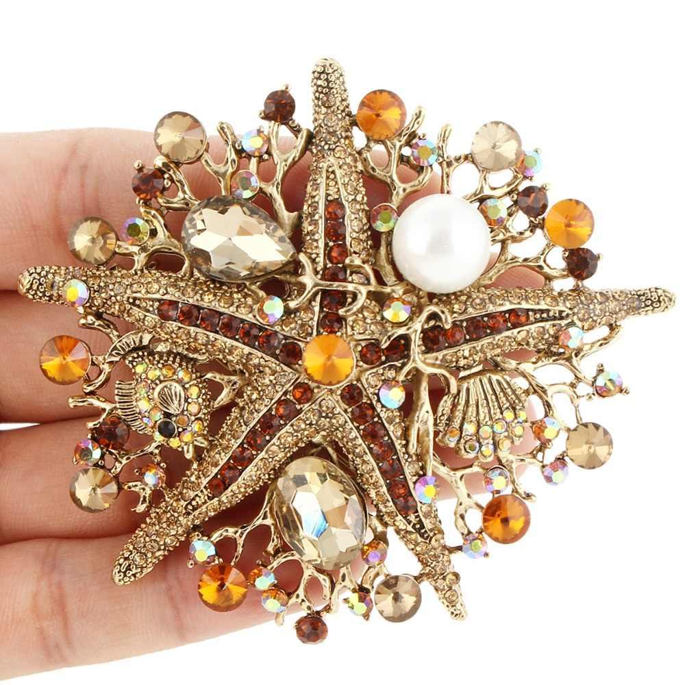 Tuliper 6 Colori Star Star pesce Pearl Spilla Animale Spille Austriaco di Cristallo Del Rhinestone Sea World di Fascino Spilla Monili Del Partito