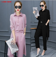 3 Pieces Womens Set Clothing Outwear Crop Top Pants Black Pink Spring Summer Office Lady Suits