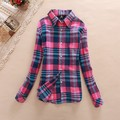 Women gingham shirting plaid long blouses vintage long sleeve Ladies shirts casual top Blusas Femininas European Style clothing
