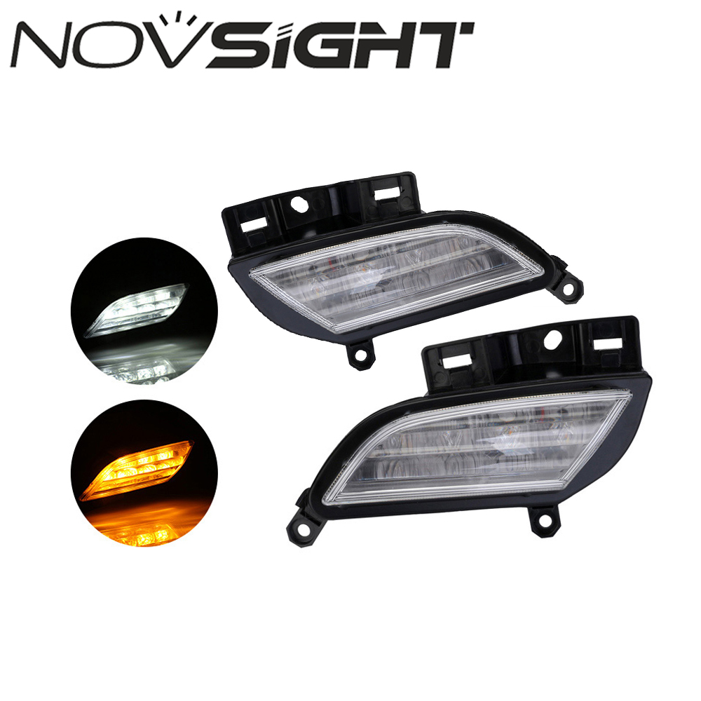 NOVSIGHT Auto Car LED DRL White Driving Daytime Running Day Fog Lamp Light Yellow Turn For Toyota Yaris L 2017-2018 1 pair metal shell eagle eye hawkeye 6 led car white drl daytime running light driving fog daylight day safety lamp waterproof