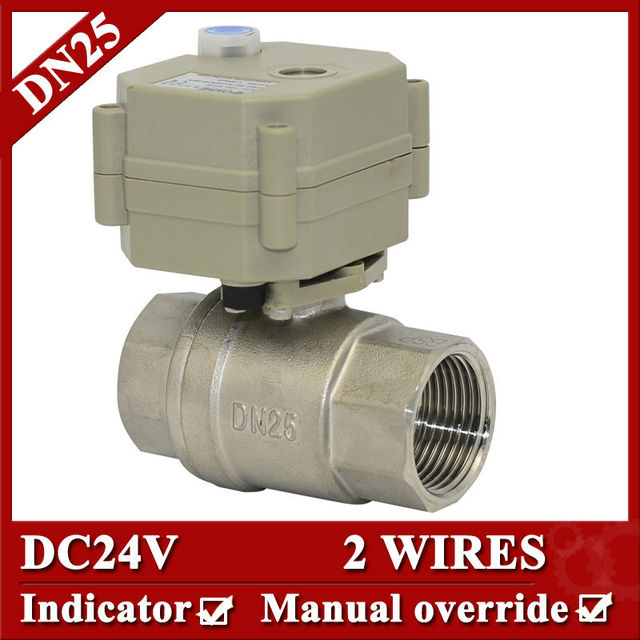 1'' 24VDC stainless steel electric valve 2 wires full port , BSP/NPT  Motorized Water Valve with override