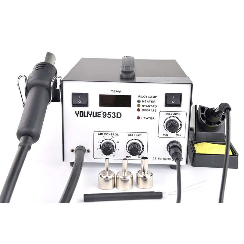 YOUYUE 953D Air pump type 220V 2 in 1 SMD Rework Soldering Station Hot Air Gun+Electric Solder Iron For Welding Repair spa hot tub bath pump blower air switch for china lx pump air switch