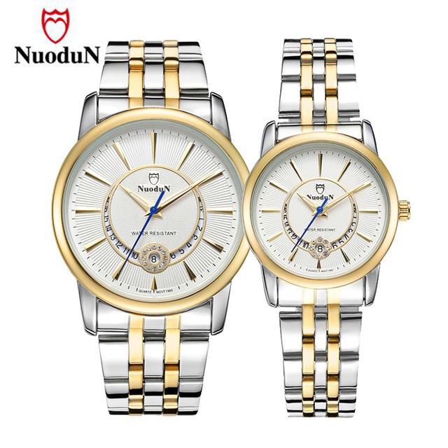 Nuodun casal relógio de aço inoxidável dos homens das mulheres amantes casuais relógio de ouro relógio de pulso de luxo relógios de marca relojes warterproof 1953