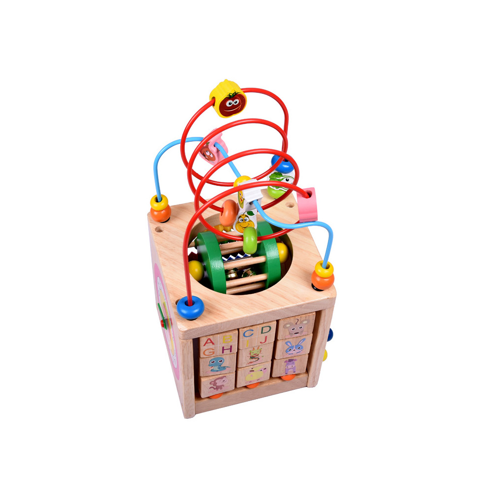 6 In 1 Wooden Bead Maze Activity Center Box Cube Wood Toys For Kids Multipurpose Educational Skill Improvement Toys & Hobbies