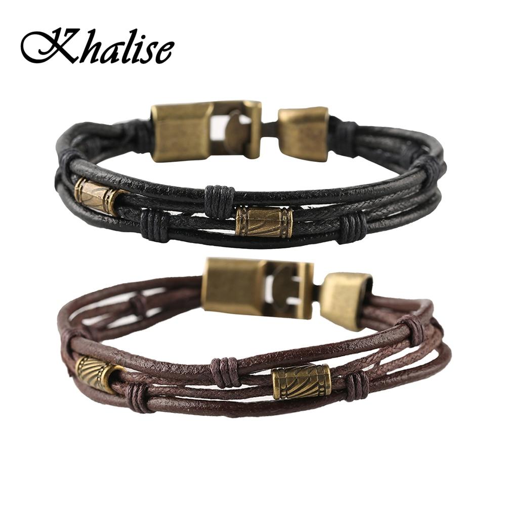 Black Brown Gold Color Fashion Latin Rope Chain Leather Bracelet And Hide Metal Buckle Decoration Retro Bracelets Men Men Gift