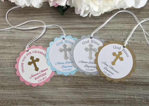 Custom First Communion Christening Favor Baby Shower Gift Tags