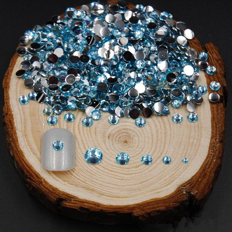 4 Sizes and mix size 2000pcs Aquamarine Colors Nail Rhinestones Acrylic Flat Back Nail Art Rhinestone Decoration For UV Gel