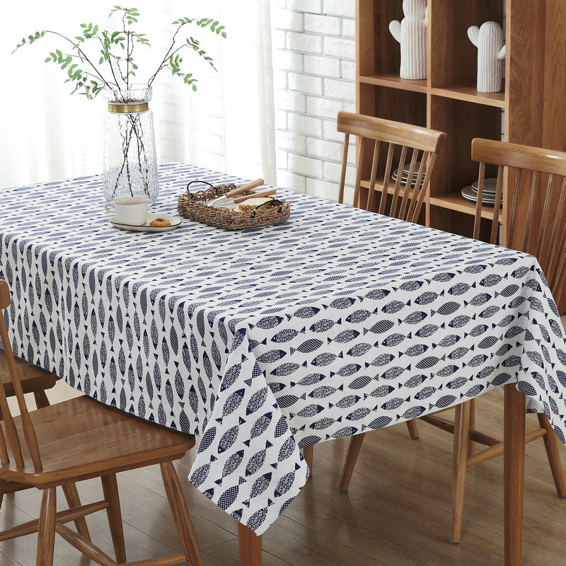 Modern fish photo print cotton linen Table Cloth party restaurant Home Decoration cover 5size 1pcs price free ship