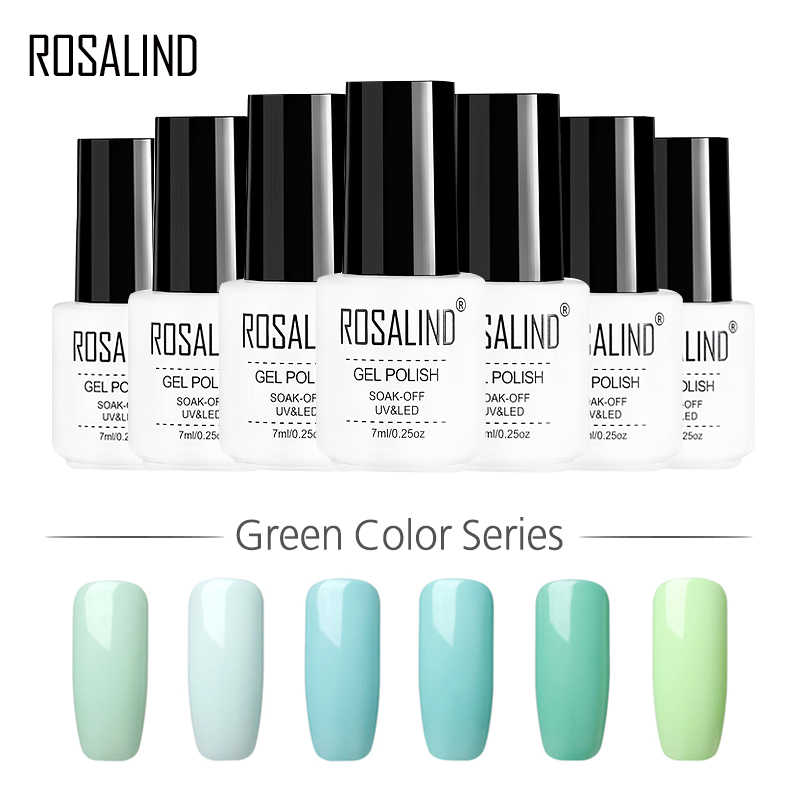 ROSALIND Gel 1 S 7 ML Groene Kleur Serie Gel Nagellak Gel lak Voor Nagel Nail Art Primer UV Led Varnish Manicure