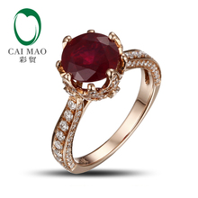 Romantic 14K Rose Gold Blood Red Round Ruby Natural Diamond Engagement Ring Fine Jewelry