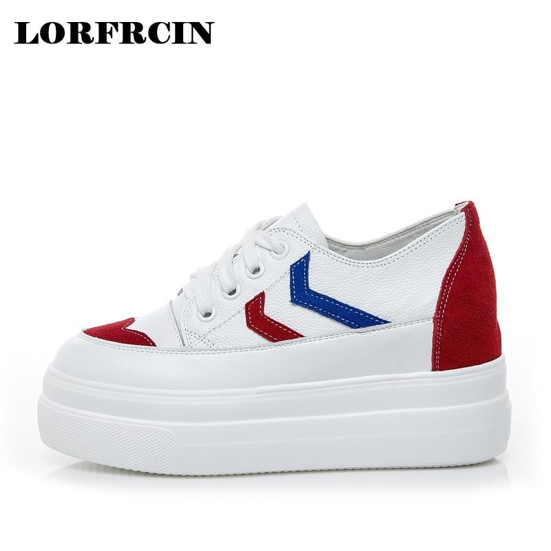 54dd3c0ca3d4 Women Flats Genuine Leather Platform Shoes For Women Height Increasing  Women Sneakers Fashion Lace up Women