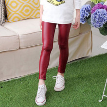 Thin Girls Faux Leather Pants Fashion Leggings Spring Children Pants