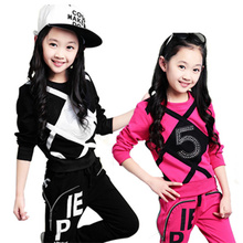 Children Girl Clothing Set Sports Suits 4-12 Years Kids 2pcs Sets Spring Autumn Fall Child Crystal Clothes Tracksuit Sports Wear 2016 male child set sweatshirt child spring and autumn clothing children s twinset sports child baby spring outerwear